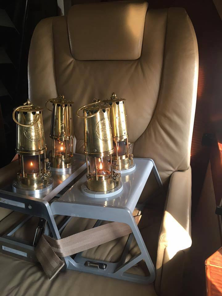 miners lamps on a plane